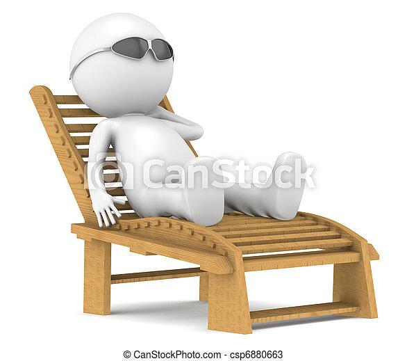 3D little human character relaxing. - csp6880663