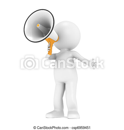 3d little human character with a megaphone - csp6959451