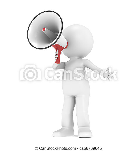 3d little human character with a megaphone - csp6769645