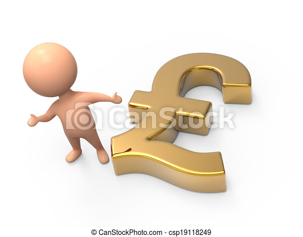 3d Little Man Gold Uk Pound Symbol 3d Render Of A Little Man And