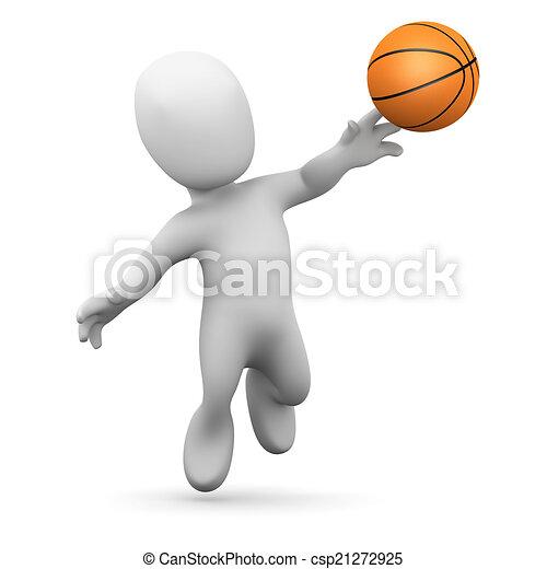 3d Little man plays basketball - csp21272925