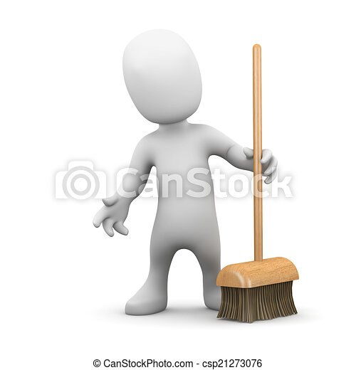 3d Little man with a broom - csp21273076