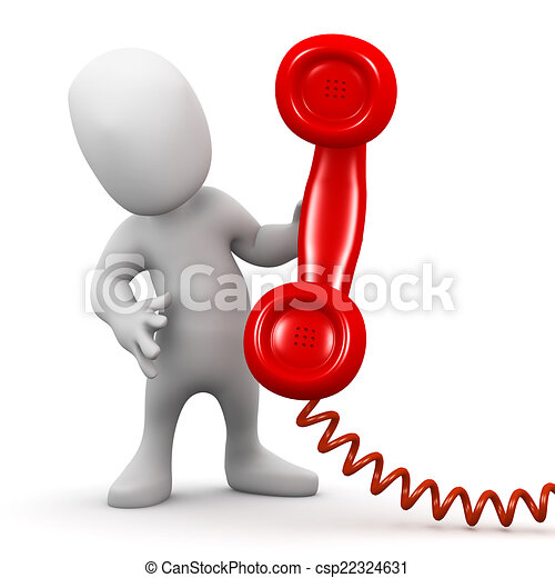 3d Little man with a telephone handset - csp22324631