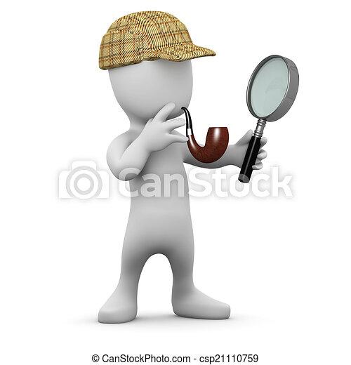 3d Little man with deerstalker hat and pipe - csp21110759