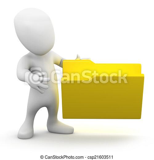 3d Little person with an empty folder - csp21603511