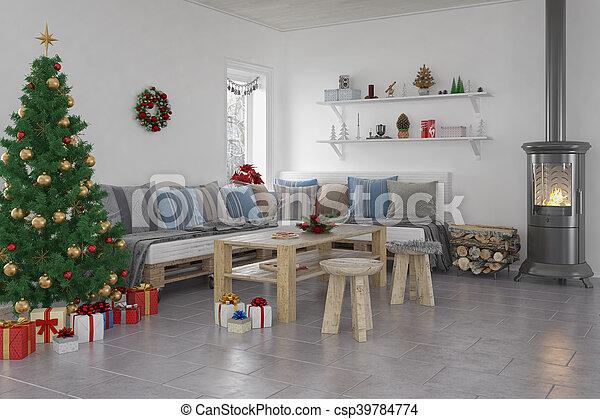 3d - livingroom - christmas - csp39784774