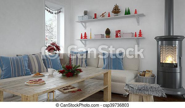 3d - livingroom - christmas - csp39736803