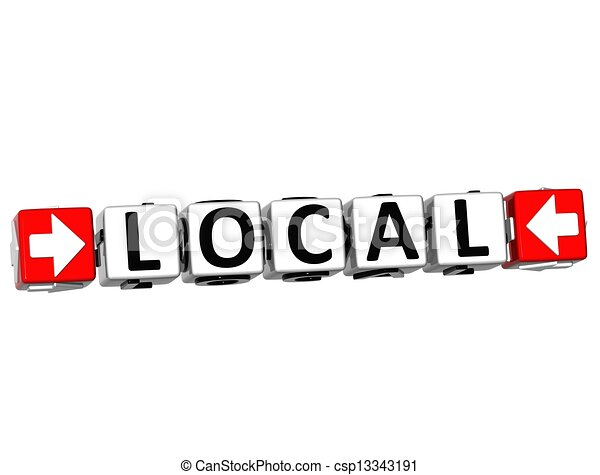 3D Local Button Click Here Block Text - csp13343191