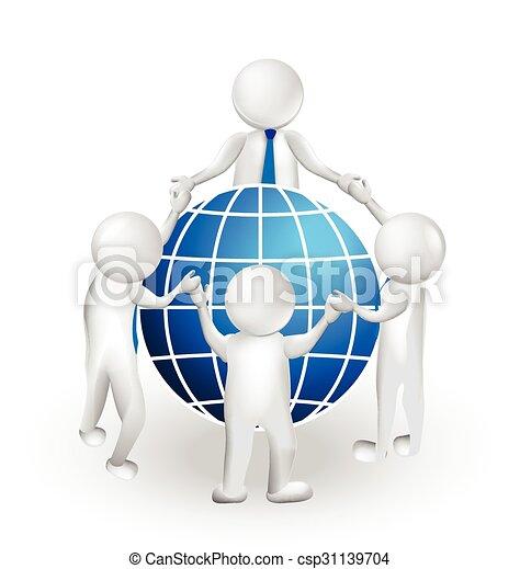3D logo teamwork people and world  - csp31139704