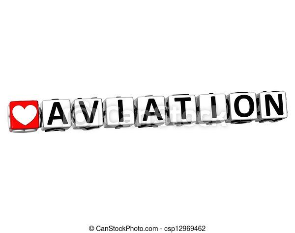 3D Love Aviation Button Click Here Block Text  - csp12969462