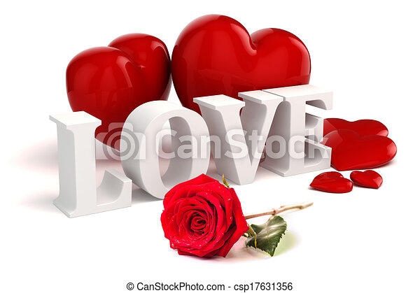 Clip Art Line Of Hearts : D love text red hearts and rose on white background stock
