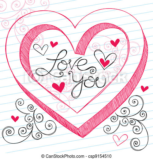 3d love heart drawing images