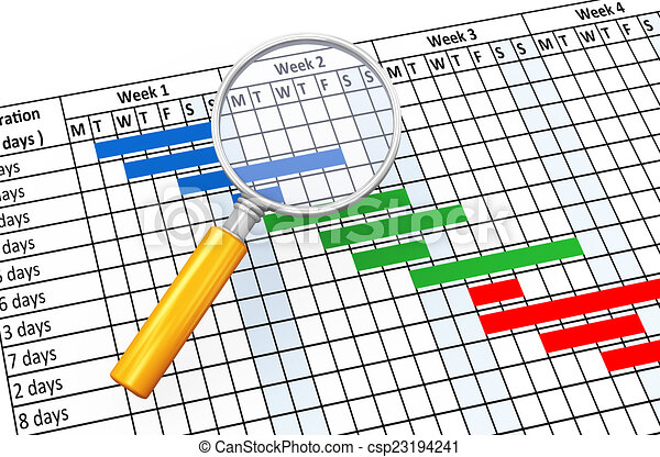 3d Magnifier And Gantt Chart 3d Render Of Magnifying Glass And