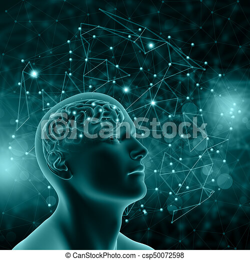 3D male figure with brain on background with connecting dots and lines - csp50072598