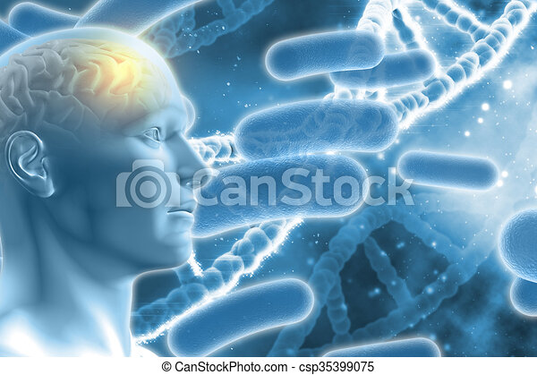 3D male figure with brain on DNA medical background - csp35399075