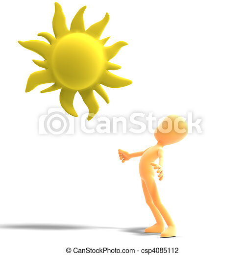 3d male icon toon character standing in the sun. 3D rendering and shadow over white - csp4085112