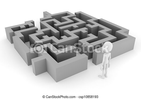 3d man and a maze, on white background - csp10858193