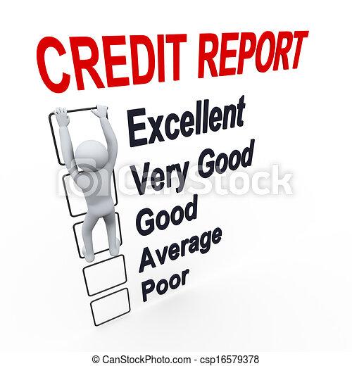 3d man and credit score report - csp16579378