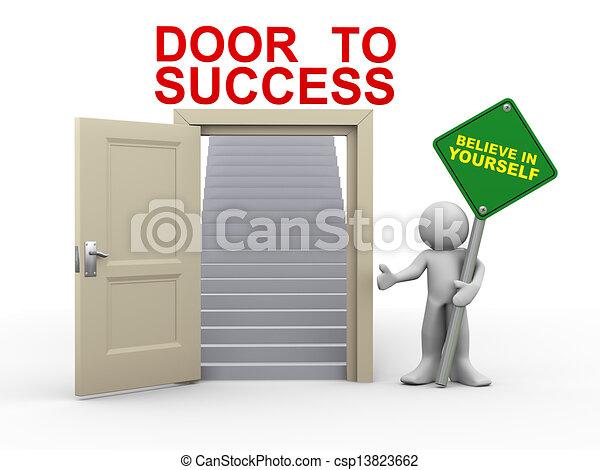 3d man and door to success - csp13823662