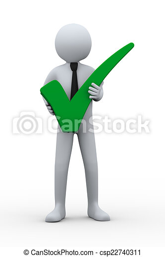 3d Man And Green Check Mark 3d Illustration Of Businessman Holding