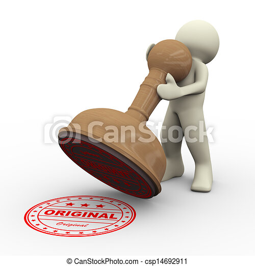 3d man and original rubber stamp 3d illustration of man with word