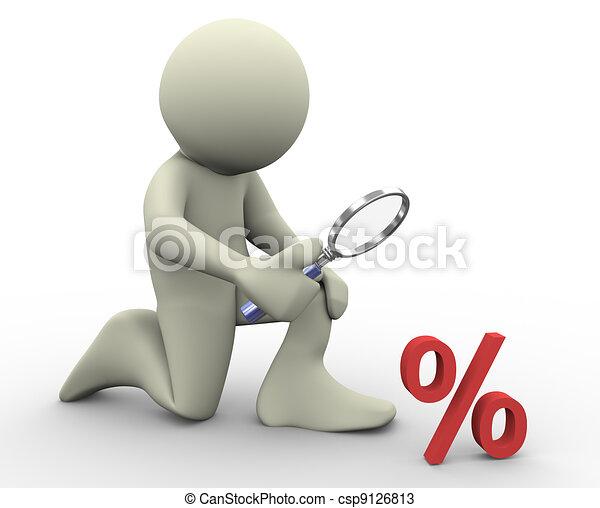 3d man and percentage sign - csp9126813