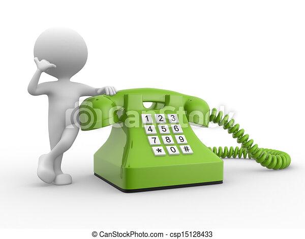 3d man and phone.  - csp15128433