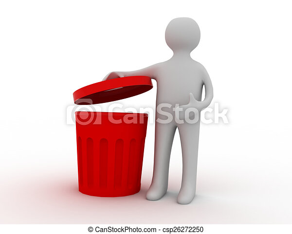 3d man and trash can - csp26272250