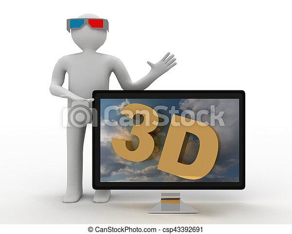 3d man and tv. 3d hd tv concept - csp43392691