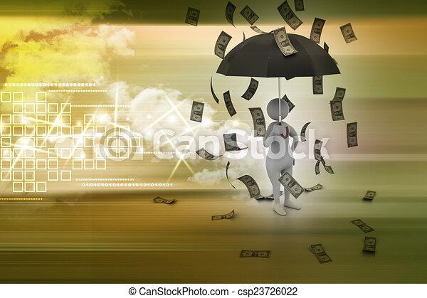 3d man and umbrella in money rain - csp23726022