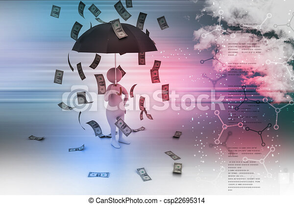 3d man and umbrella in money rain - csp22695314