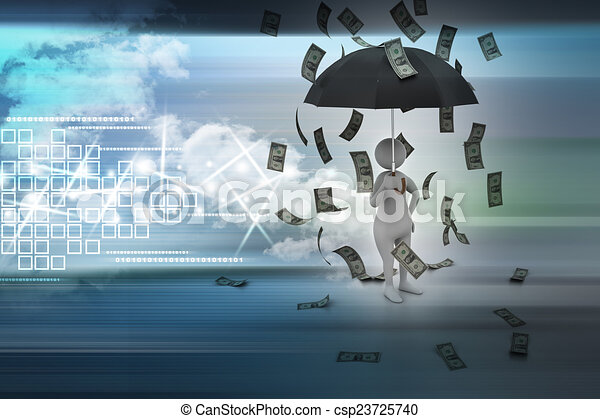 3d man and umbrella in money rain - csp23725740