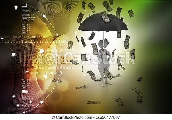3d man and umbrella in money rain - csp50477807