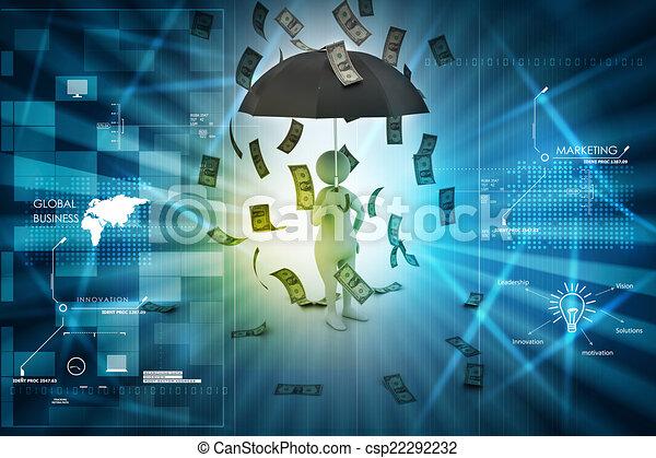 3d man and umbrella in money rain - csp22292232