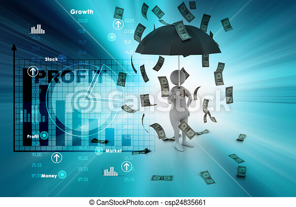 3d man and umbrella in money rain - csp24835661