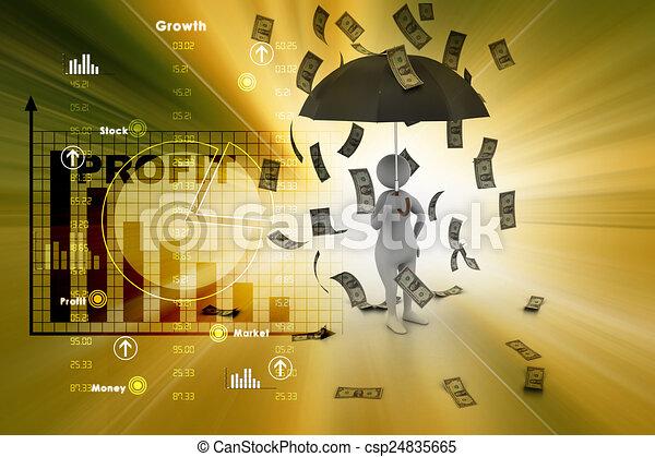 3d man and umbrella in money rain - csp24835665