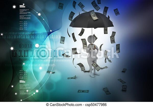 3d man and umbrella in money rain - csp50477986