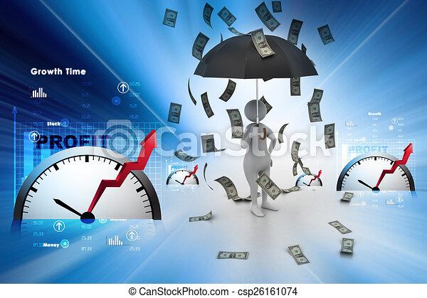 3d man and umbrella in money rain - csp26161074