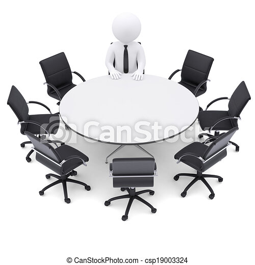 3d man at the round table. Seven empty chairs - csp19003324