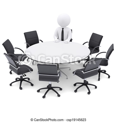 round table and chairs clipart. 3d man at the round table. seven empty chairs - csp19145623 table and clipart