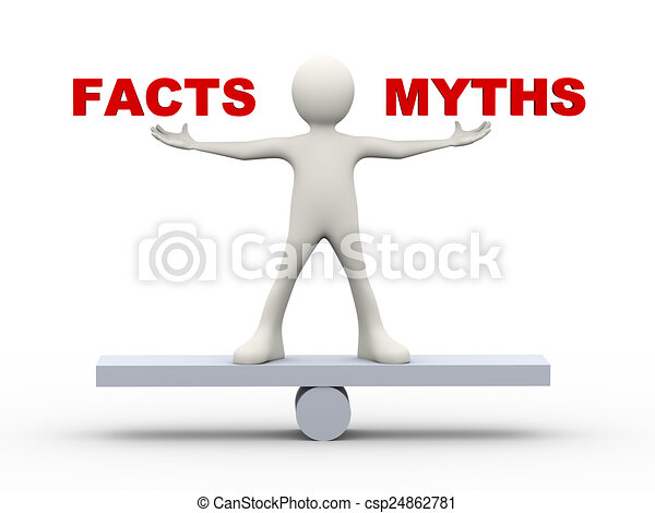 3d man balance facts and myths - csp24862781