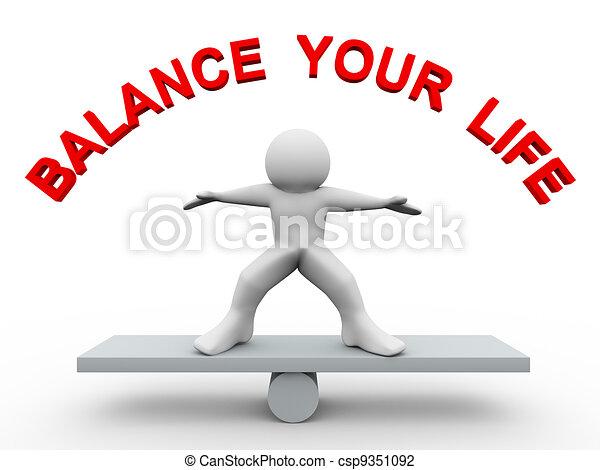3d man - balance your life - csp9351092