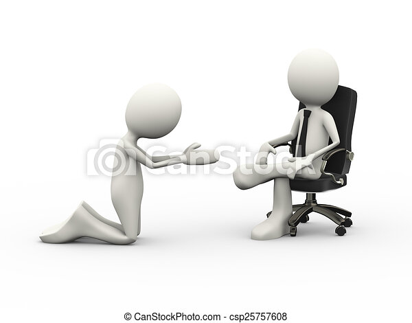 3d man begging to seated boss on chair 3d illustration of for Chaise 3d dessin