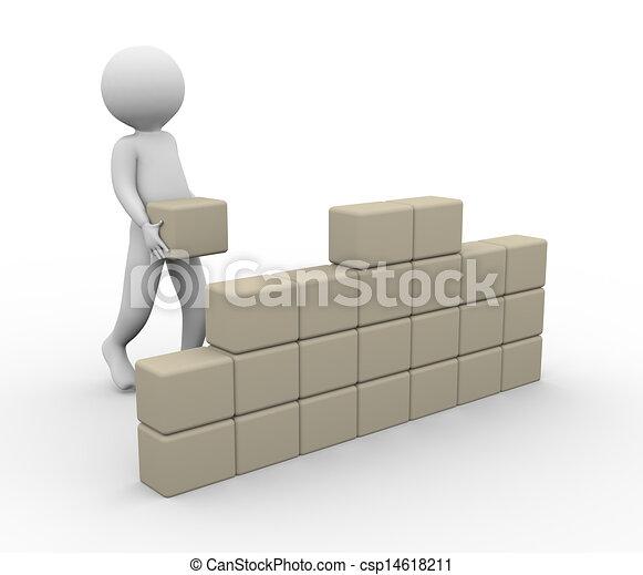 3d Man Building Wall