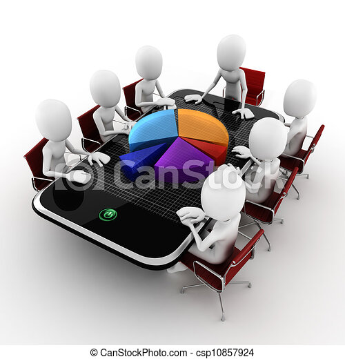 3d man business conference concept, on white background - csp10857924