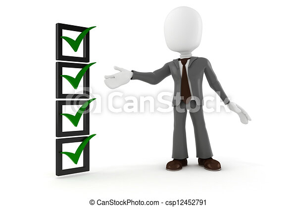 3d man business man and check list, on white background - csp12452791