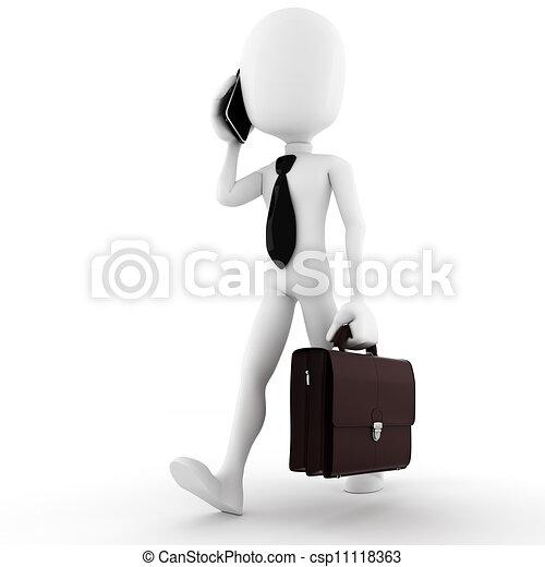 3d man business man, talking at his new smart phone - csp11118363