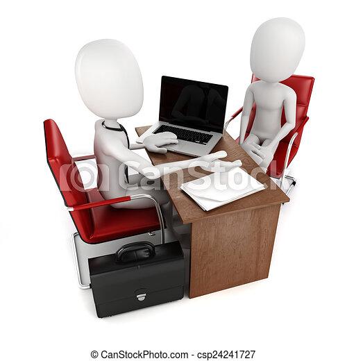 3d man, business meeting, job interview - csp24241727