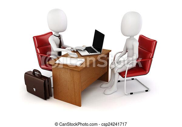3d man, business meeting, job interview - csp24241717