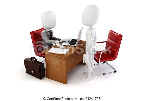 3d man, business meeting, job interview - csp24241706